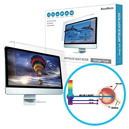 (BozaBoza) Acrylic Anti Blue Light Screen Protector 22″ Easy On/Off (for 22″ Universial Diagonally Measured 16 : 9/16 : 10 Aspect Ratio) Filtering Out Blue Light for Laptop, Notebook, Monitor