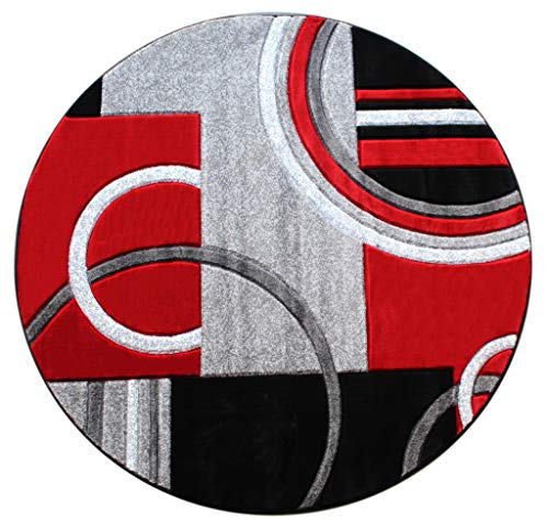 Masada Rugs Sophia Collection Hand Carved Round Area Rug Modern Contemporary Red Grey Black (8 Feet X 8 Feet) Round