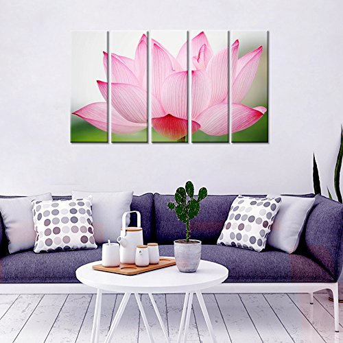 Wall Mantra Lotus Home Decorative 5 Panel Canvas Wall Art Photo Painting