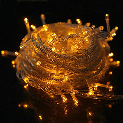 HDE Linkable LED String Lights Holiday Home Fairy Multifunction Wedding College Dorm Room Craft Decoration Expandable Rope Lights (100 Micro LEDs - Gold)