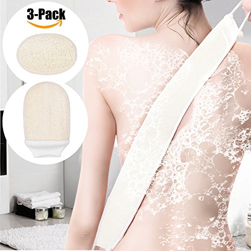 Bath Accessories Soft Complexion Brush - 3 In 1 Set: Exfoliating Loofah Back Scrubber + Body Glove + Face Pad for Men and Women