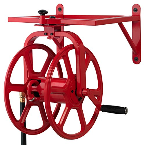 Liberty Garden 713 Revolution Multi-Directional Garden Hose Reel, Red (Best Wall Mounted Garden Hose Reel)