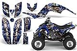 2001-2005- Yamaha Raptor 660 AMRRACING ATV Graphics Decal Kit:MadHatter-Silver-Blue