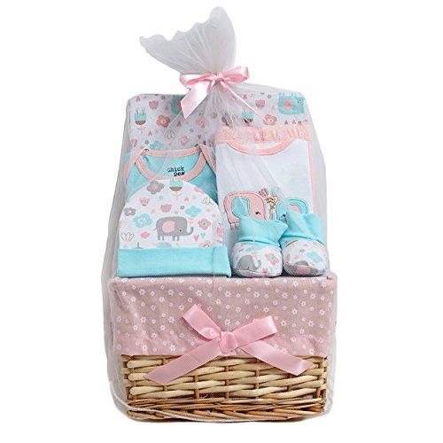 Chick Pea Newborn Baby Girl 7PC Bundle of Joy Gift Basket (Baby Gift Baskets For Girl)