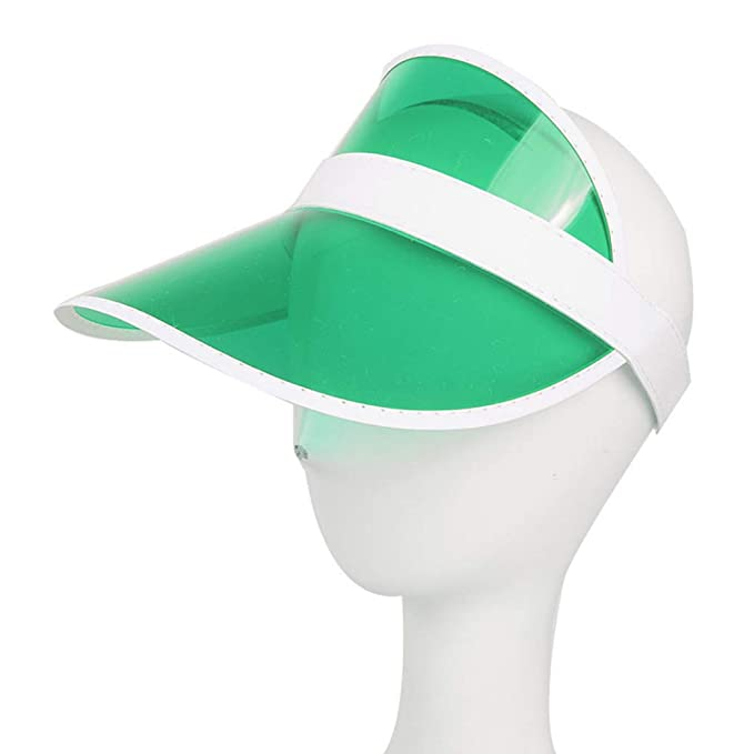 54885c0c3e11d4 ROGEWIN Summer Outdoor Sports Sun Hats Protection Cap Unisex Clear Plastic  Visor Hat Green