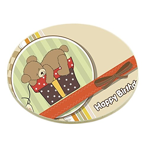 6PCS Round Cartoon Coaster Set Drink Coasters Cup Coaster With Holder, Bear