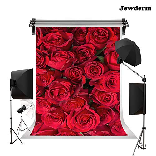 Jewderm 5x7ft 3D Red Roses Photo Backgrounds Romantic Flowers Photography Backdrops for Birthday Party Valentine Love Wedding Ceremony for Photo Booth Video Props