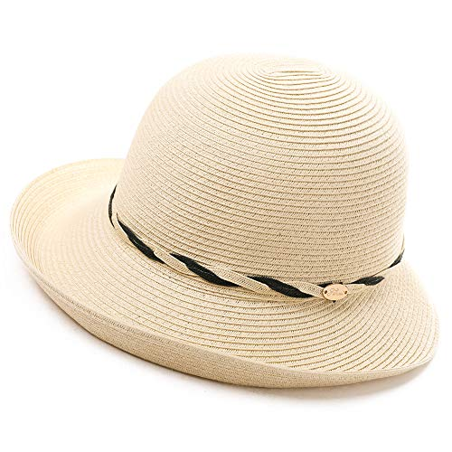 Womens Ladies Summer Sun Beach Straw Bucket Hats UV Protective Outdoor Patio Panama Fedora Packable Foldable Beige