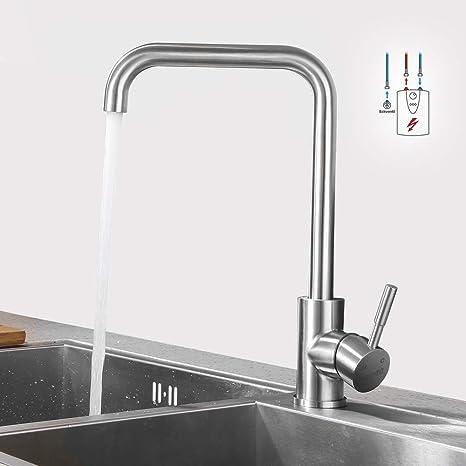 Lonheo Edelstahl Niederdruck Küche Wasserhahn mit 360° schwenkbare hoher  Auslauf Niederdruckarmatur für offene Boiler Küchenarmatur Spültischarmatur  ...