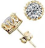 Fashion Crown 18k Gold Plated Earrings Women Brincos De Prata Men Sterling Silver Crystal Jewerly Double Stud Earrings (Silver) (Gold, Onesize)