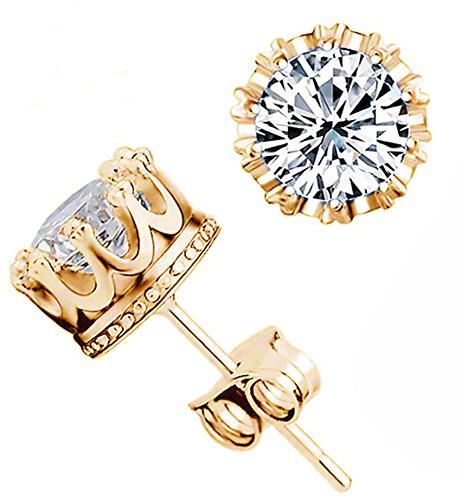 Fashion Crown 18k Gold Plated Earrings Women Brincos De Prata Men Sterling Silver Crystal Jewerly Double Stud Earrings (Mens Earrings Gold)