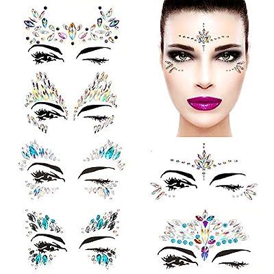6 Sets Self-adhesive Face Gems Stickers Festival Glitter Jewels Rhinestone Tattoo Stickers Crystal Tears Gem DIY Body Art Makeup