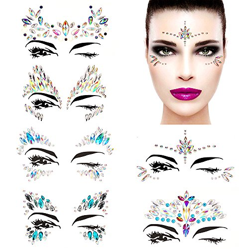 Bling 6 Sets Self-adhesive Mermaid Face Gems Stickers, Rave Festival Face Jewels Crystal Rhinestone Temporary Tattoo Stickers DIY Crafts Gem for Body, Makeup, Festival, Carnival by Bling