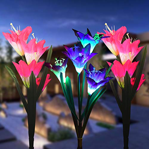 (Outdoor Solar Garden Stake Lights, 3 Pack Solar Powered Flower Lights with 12 Lily Flower, Multi-Color Changing LED Solar Landscape Decorative Lights for Garden, Patio, Backyard(Solar Flower)
