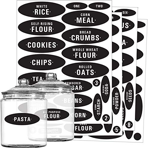 Pantry Labels - 84 Preprinted & Write-On Chalkboard Kitchen Labels Sticker Set by Talented Kitchen. Black Chalk, Water Resistant, Reusable, Food & Spice Jar Labels for Pantry Organization and Storage
