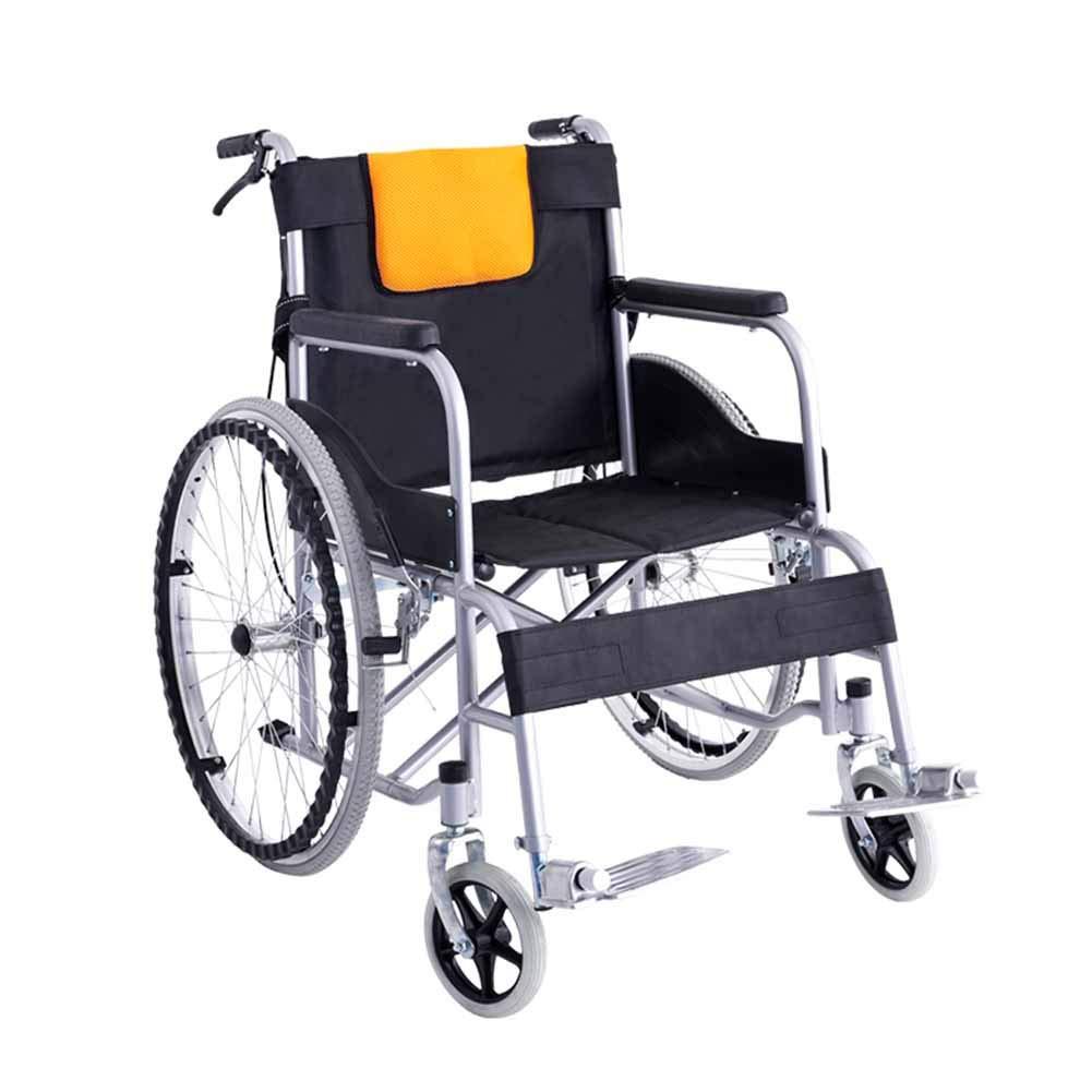 QIDI 車椅子 鋼 軽量 折りたたみ可能 肘掛け付き ダブルブレーキ 減衰 ソリッドタイヤ   B07KCX4VVH