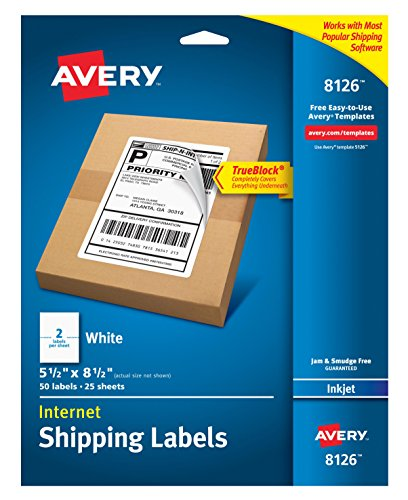 Avery Shipping Address Labels, Inkjet Printers, 250 Labels, Half Sheet Labels, Permanent Adhesive, TrueBlock (5-Pack 8126)