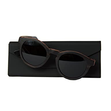 WOLA Damen Sonnenbrille Holz BAUM Brille rund Vollholz und Acetat polarisiert UV400 Ebenholz Unisex Damen M - Herren S wA03K