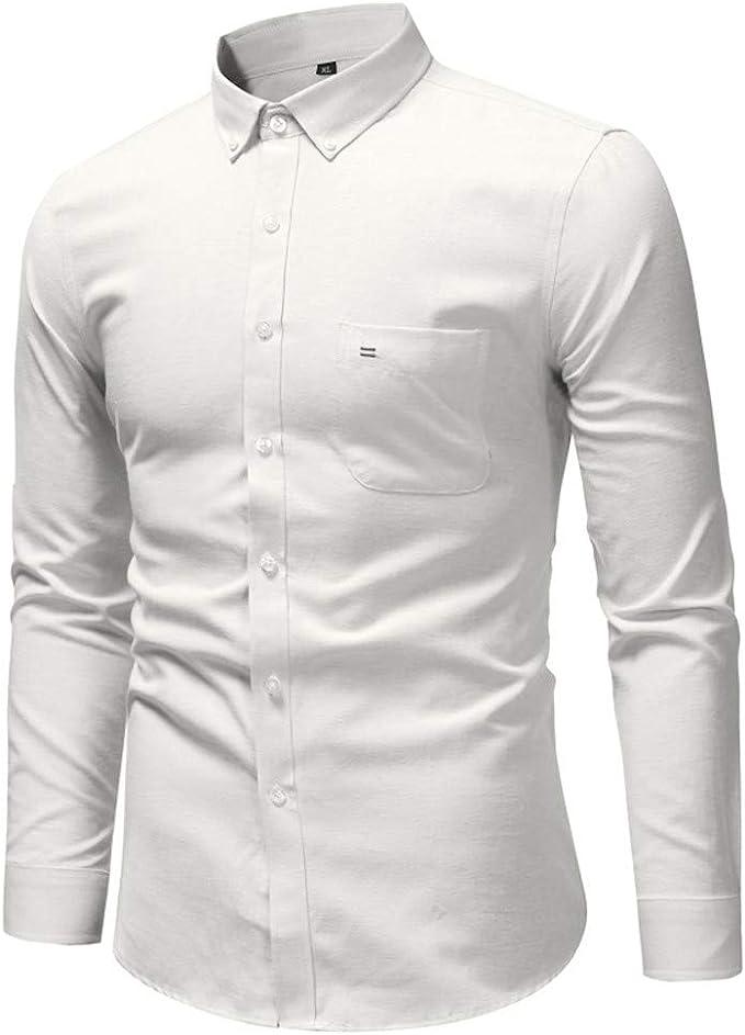 Sencillo Vida Camisas Blancas Hombre Manga Larga Camisas de Hombre ...