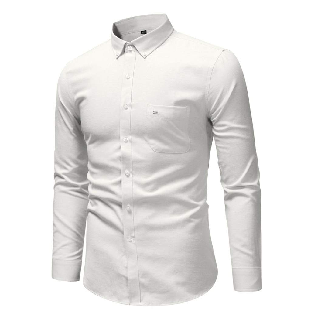 SFE Mens Dress Slim Fit Shirts Long Sleeve Business Shirts Basic Designed Casual Button Down Collar Shirt