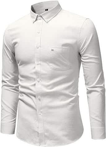 Sencillo Vida Camisas Blancas Hombre Manga Larga Camisas de Hombre Formales Color Sólido Camisas de Hombre de Vestir Delgada Slim Fit Camisa Hombres Casual Clásico Cuello de Solapa con Botones: Amazon.es: Ropa