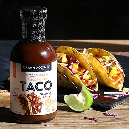Jamaican Jerk Spicy Taco Simmer Sauce - Gluten Free Global Taco Fusion Sauce - Urban Accents, Set of 4