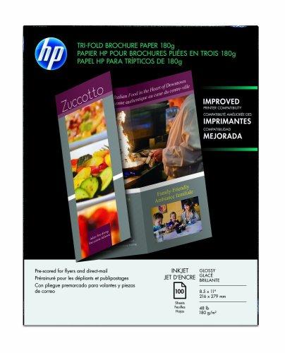 HP Tri-fold Brochure Paper for Inkjet Printer, Glossy. 8.5x11, 100 Sheets
