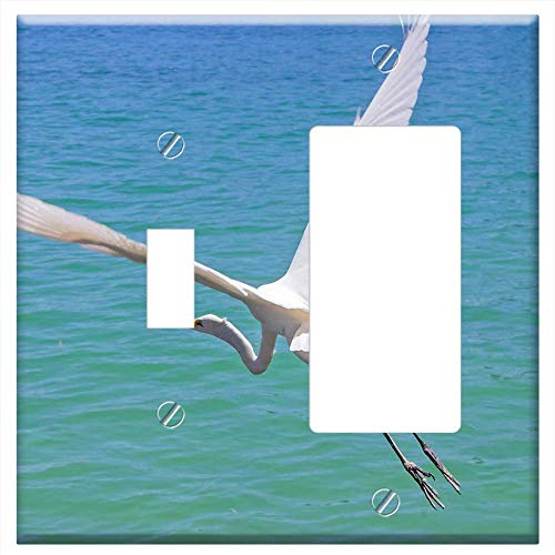 Heron Bay Wall - 1-Toggle 1-Rocker/GFCI Combination Wall Plate Cover - Heron Flying Over The Sea Clearwater Bay Wate