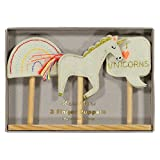 Finger Puppets with Wood Base for Puppet Show Set of 3 Unicorn & Rainbow Theme