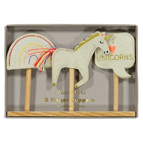 Finger Puppets with Wood Base for Puppet Show Set of 3 Unicorn & Rainbow Theme by Meri Meri