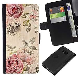 iBinBang / Flip Funda de Cuero Case Cover - Rose Rustic Wallpaper Floral Rose - HTC One M9
