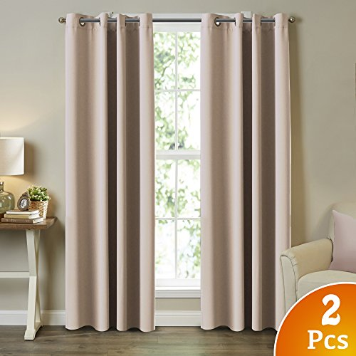TURQUOIZE Blackout Curtain Set Thermal Insulated Grommets Draperies Bedroom Curtains, Beige/ Ivory, 52