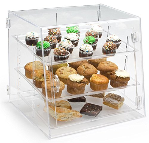 Clear Acrylic Pastry Case with 3 Removable Shelves, Front and Rear Doors - 18.875