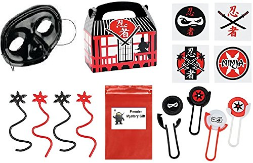 Ninja Star Party Favor Bundle (includes Mask, Disc Shooters, Tattoos, Sticky Stars, Treat Boxes & 1- Mystery gift) (Ninja Party Favor Box)