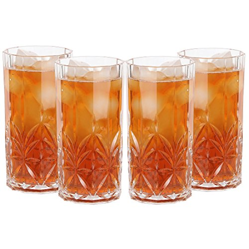 Lily's Home Acrylic Double Old Fashioned Hi-Ball Whiskey Tumblers - Set of 4 Premium Indoor / Outdoor Whisky Scotch Tumblers - Shatterproof, Reusable, Dishwasher Safe (Acrylic Hi Ball Set)