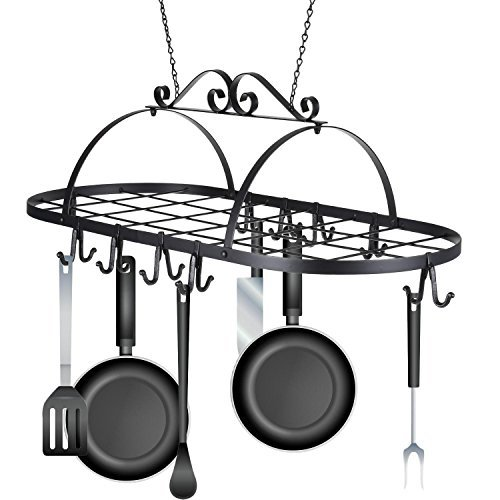 Dtemple Multifunctional Oval Ceiling Iron Pot Pan Hanger Cookware Utensils Hanging Rack Storage with 10 Hooks (US STOCK)