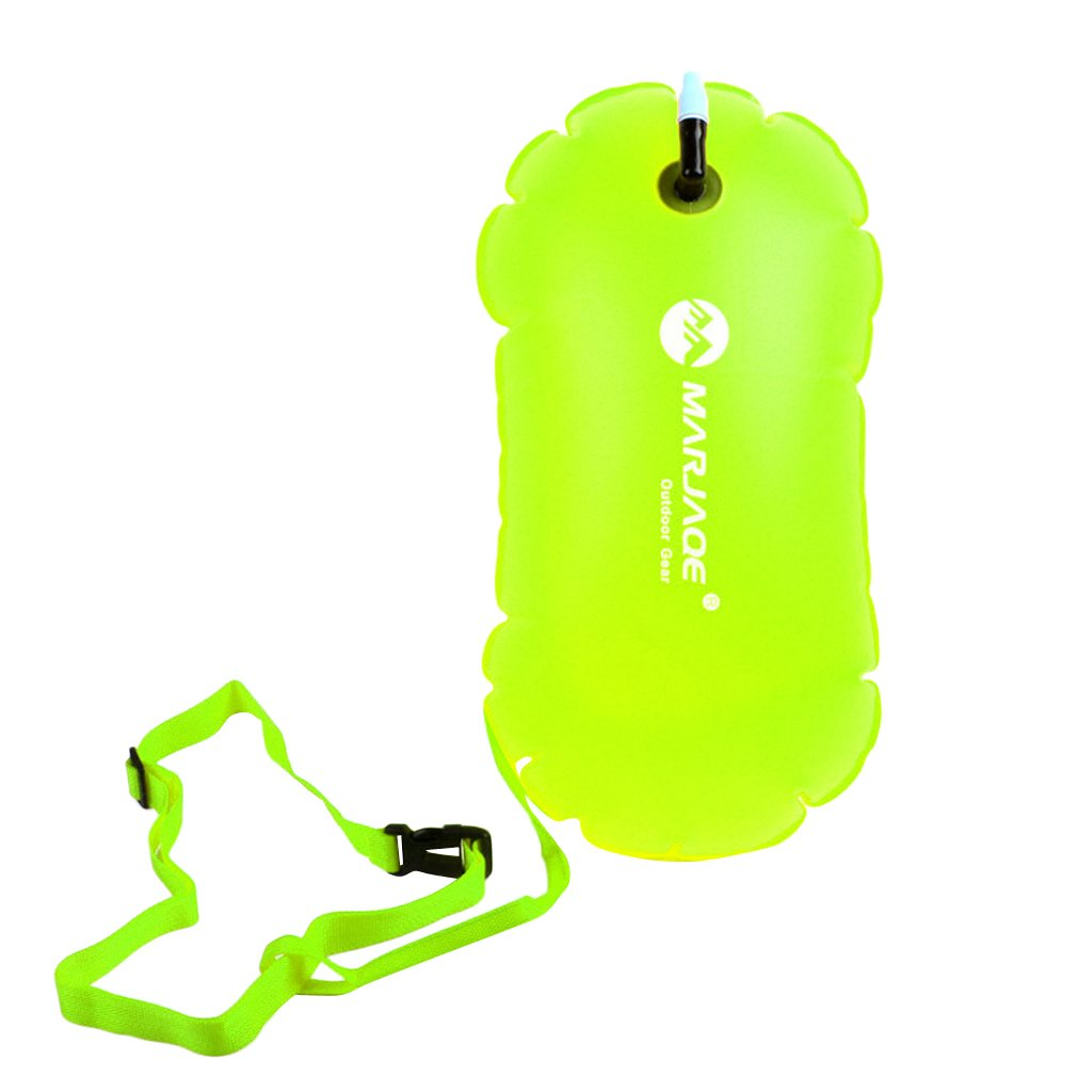 Baosity Waterproof PVC Swim Buoy Tow Float Air Bag Inflatable Swimming Bag with Waist Belt - Lightweight & Highly Visible - Fluo Yellow by Baosity (Image #4)