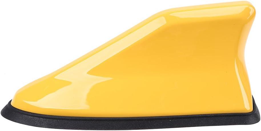 Yellow Shark Fin Antenna,Possbay Universal Car Antenna Aerial AM FM Radio Signal with Adhesive