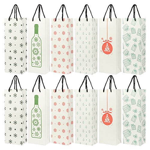 24-Pack Christmas Gift Wine Bags - Kraft Paper Bags, Paper Bags with Handles for Shopping, Christmas Gifts, 6 Assorted Designs - 15.3 x 3.2 x 5.5 Inches -