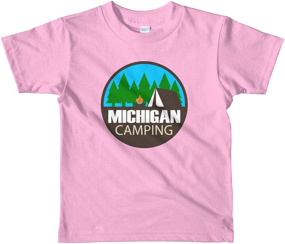 UpNorth Kids TEE Michigan Camping 9 Colors Pink
