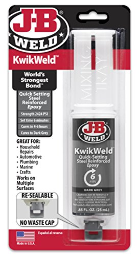 J-B Weld 50176 KwikWeld Steel Reinforced Epoxy Syringe - Dark Grey - 25 ml