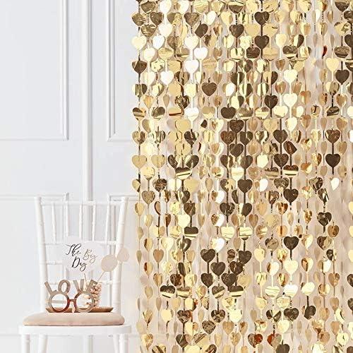 Photo Booth - Cortina de fondo con corazones dorados, decoración de fiesta dorada, accesorio para caja de fotos: Amazon.es: Hogar