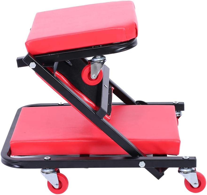 Fino a 150 kg Rossa Pieghevole Lettino Sottomacchina Tavolino per Sdraio per Auto Carrello sotto Auto in Ferro con 6 Ruota Universale EBTOOLS Sedile per Riparazioni Auto