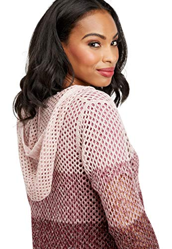 - maurices Women's Spacedye Open Stitch Hooded Cardigan Small Magenta Smoke Combo