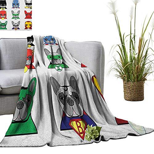 Superhero Digital Printing Blanket Bulldog Superheroes Fun Cartoon Puppies in Disguise Costume Dogs with Masks Print 30