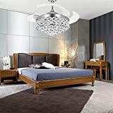 Lighting Groups Modern Crystal Ceiling Fan with Light -42 Inch Retractable Blades Ceiling Fan Chandelier with Remote Control Invisible Ceiling Fan Light Fixtures for Living Room Dining Room (Silver)