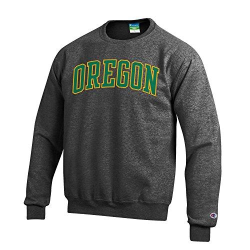 Oregon Ducks Champion Gray Powerblend Fleece Crew Pullover Sweatshirt (L)