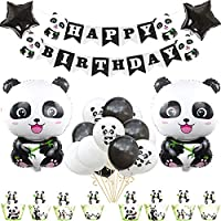 Cute Cartoon Panda Birthday Party Supplies with Banner, Happy Birthday Decoration Set with Two Five-Pointed Star Foil Balloons and Panda Latex Balloons, Full Birthday Set 45PCS for Birthday Party