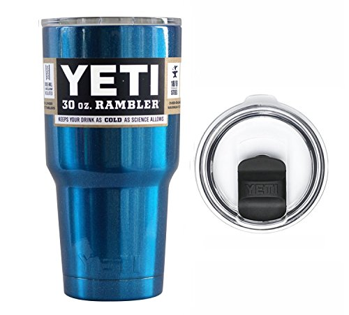 YETI Coolers 30 Ounce (30oz) (30 oz) Custom Rambler Tumbler Cup Mug with Exclusive Spill Resistant Lid (Metallic Blue) by Yeti