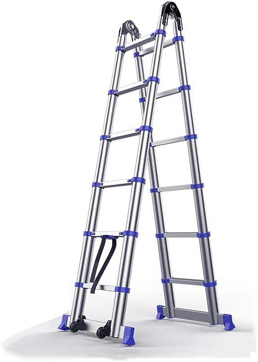 YiWu Escalera Telescópica Espesar Escalera Multifuncional Aleación De Aluminio Escalera Plegable Casa Escalera De Ingenieria (Size : 2.8M+2.8M): Amazon.es: Hogar